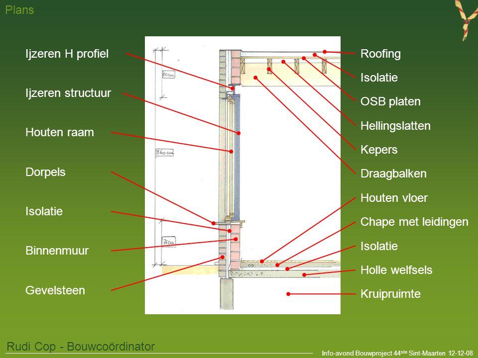 Info-avond Bouwproject 44 ste Sint-Maarten 12-12-08 Plans Rudi Cop - Bouwcoördinator Kruipruimte Holle welfsels Chape met leidingen Isolatie Houten vl