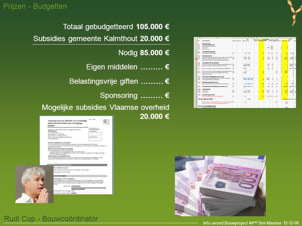Info-avond Bouwproject 44 ste Sint-Maarten 12-12-08 Prijzen - Budgetten Rudi Cop - Bouwcoördinator Totaal gebudgetteerd 105.000 € Subsidies gemeente K