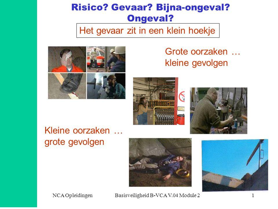 NCA Opleidingen Basisveiligheid B-VCA V.04 Module 21 Risico? Gevaar? Bijna-ongeval? Ongeval? Het gevaar zit in een klein hoekje Grote oorzaken … klein