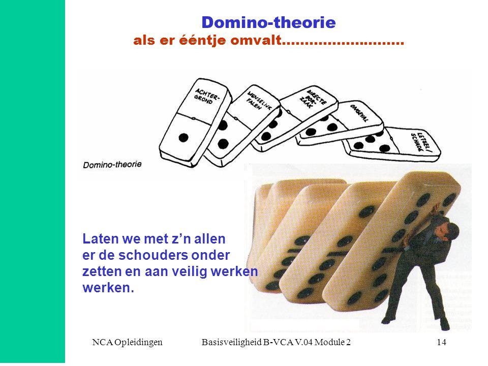 NCA Opleidingen Basisveiligheid B-VCA V.04 Module 214 Domino-theorie als er ééntje omvalt……………………… Laten we met z'n allen er de schouders onder zetten