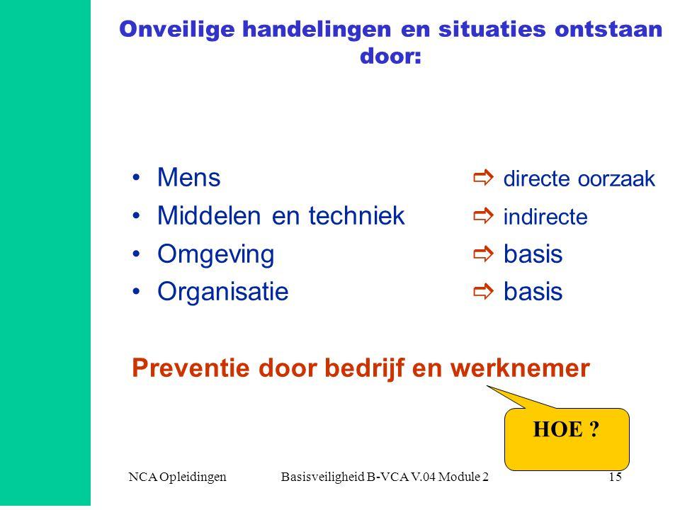 NCA Opleidingen Basisveiligheid B-VCA V.04 Module 215 Onveilige handelingen en situaties ontstaan door: •Mens  directe oorzaak •Middelen en techniek