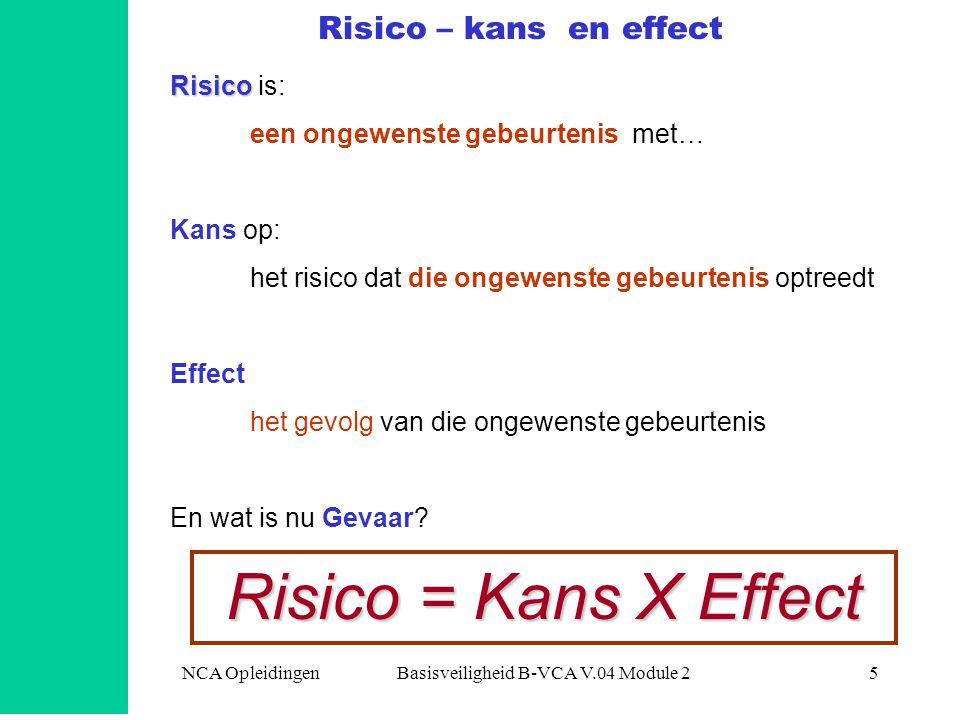 5 Risico – kans en effect Risico Risico is: een ongewenste gebeurtenis met… Kans op: het risico dat die ongewenste gebeurtenis optreedt Effect het gev