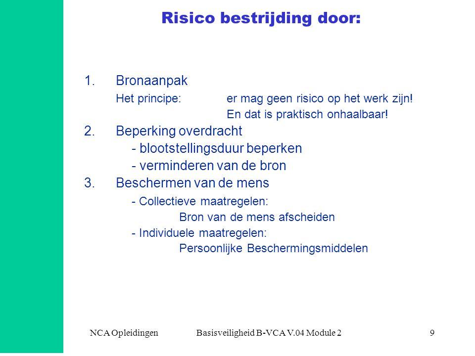 NCA Opleidingen Basisveiligheid B-VCA V.04 Module 29 Risico bestrijding door: 1.Bronaanpak Het principe: er mag geen risico op het werk zijn! En dat i