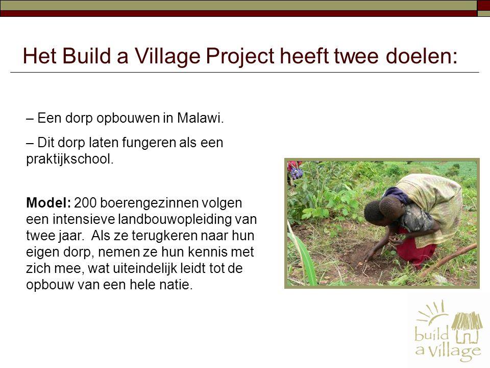 – Een dorp opbouwen in Malawi. – Dit dorp laten fungeren als een praktijkschool. Model: 200 boerengezinnen volgen een intensieve landbouwopleiding van