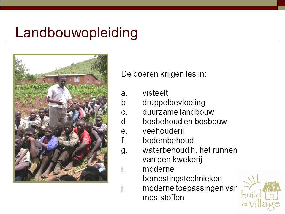 De boeren krijgen les in: a.visteelt b.druppelbevloeiing c.duurzame landbouw d.bosbehoud en bosbouw e.veehouderij f.bodembehoud g.waterbehoud h.het ru