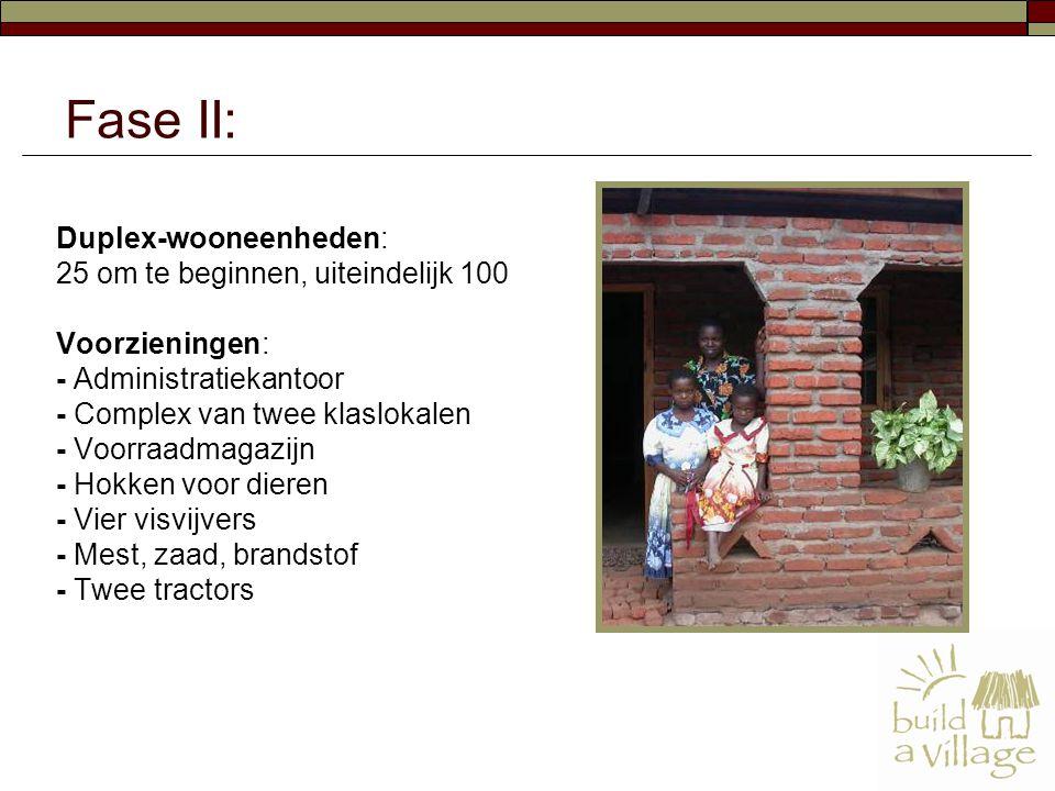 Duplex-wooneenheden: 25 om te beginnen, uiteindelijk 100 Voorzieningen: - Administratiekantoor - Complex van twee klaslokalen - Voorraadmagazijn - Hok