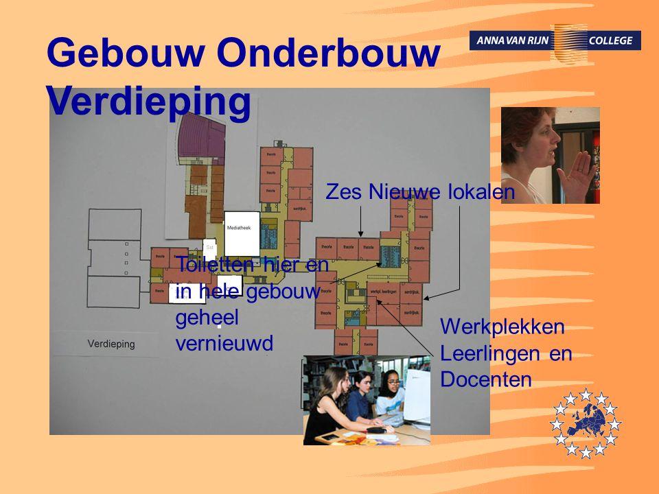 Gebouw Onderbouw Verdieping Werkplekken Leerlingen en Docenten Toiletten hier en in hele gebouw geheel vernieuwd Zes Nieuwe lokalen