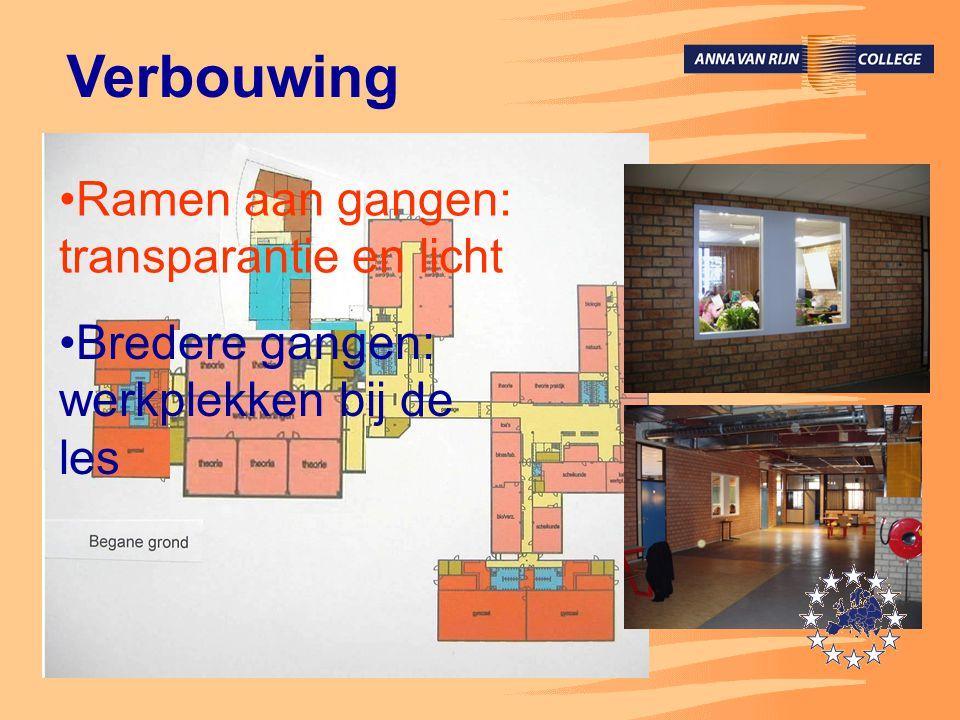 Verbouwing •Ramen aan gangen: transparantie en licht •Bredere gangen: werkplekken bij de les