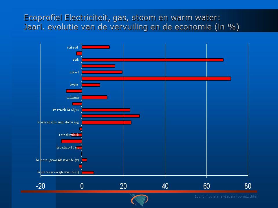 Economische analyses en vooruitzichten Ecoprofiel Electriciteit, gas, stoom en warm water: Gemiddeld jaarlijks aandeel in vervuiling en economie (%)