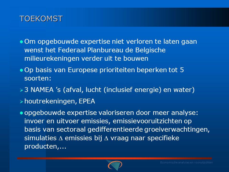 Economische analyses en vooruitzichten BELGISCHE MILIEUREKENINGEN IN EUROPEES PERSPECTIEF  NAMEA Afval (IER, NED, OOS, FIN, ZWE, NOO, TSJ) vanaf 2003 focus op standardisatie (gestimuleerd door Europese verordening 2150/2002 omtrent afvalstoffen- statistieken)  BESLUIT : België loopt globaal achter bij de gemiddelde ontwikkeling van milieurekeningen in Europa