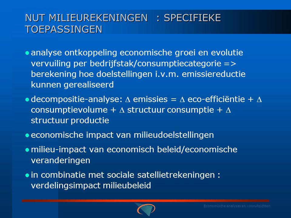 Economische analyses en vooruitzichten TOEKOMST  Om opgebouwde expertise niet verloren te laten gaan wenst het Federaal Planbureau de Belgische milieurekeningen verder uit te bouwen  Op basis van Europese prioriteiten beperken tot 5 soorten:  3 NAMEA 's (afval, lucht (inclusief energie) en water)  houtrekeningen, EPEA  opgebouwde expertise valoriseren door meer analyse: invoer en uitvoer emissies, emissievooruitzichten op basis van sectoraal gedifferentieerde groeiverwachtingen, simulaties  emissies bij  vraag naar specifieke producten,...