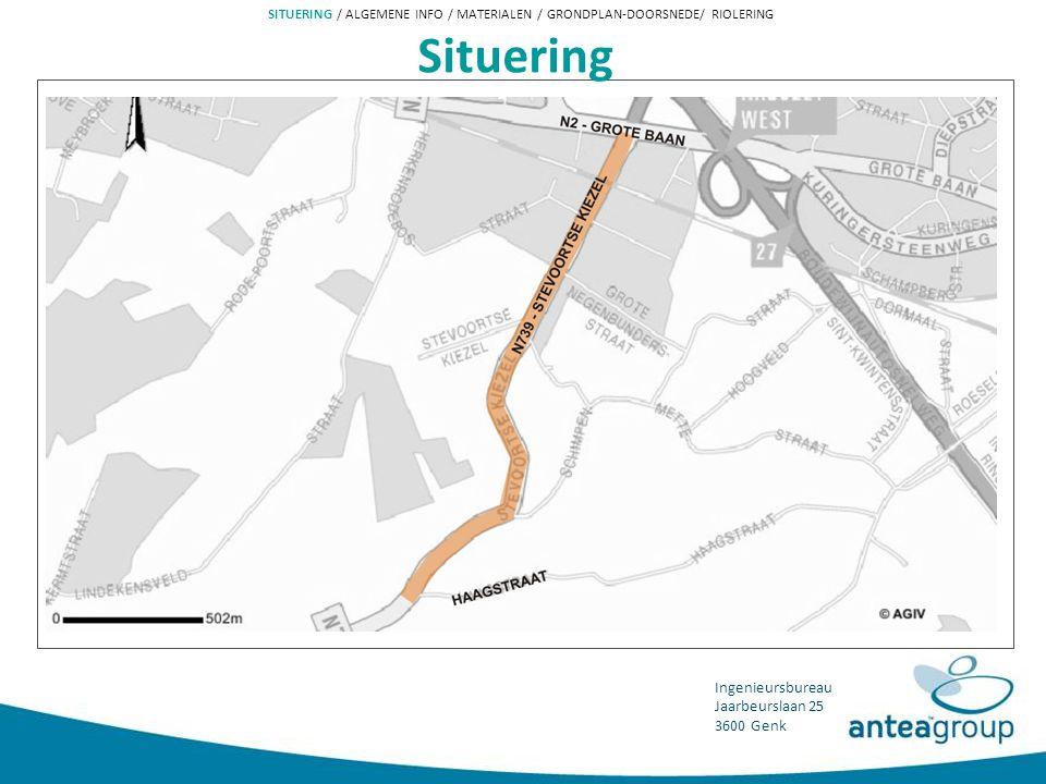 Ingenieursbureau Jaarbeurslaan 25 3600 Genk Plan der werken SITUERING / ALGEMENE INFO / MATERIALEN / GRONDPLAN-DOORSNEDE/ RIOLERING PDW Vrijliggende fietspaden