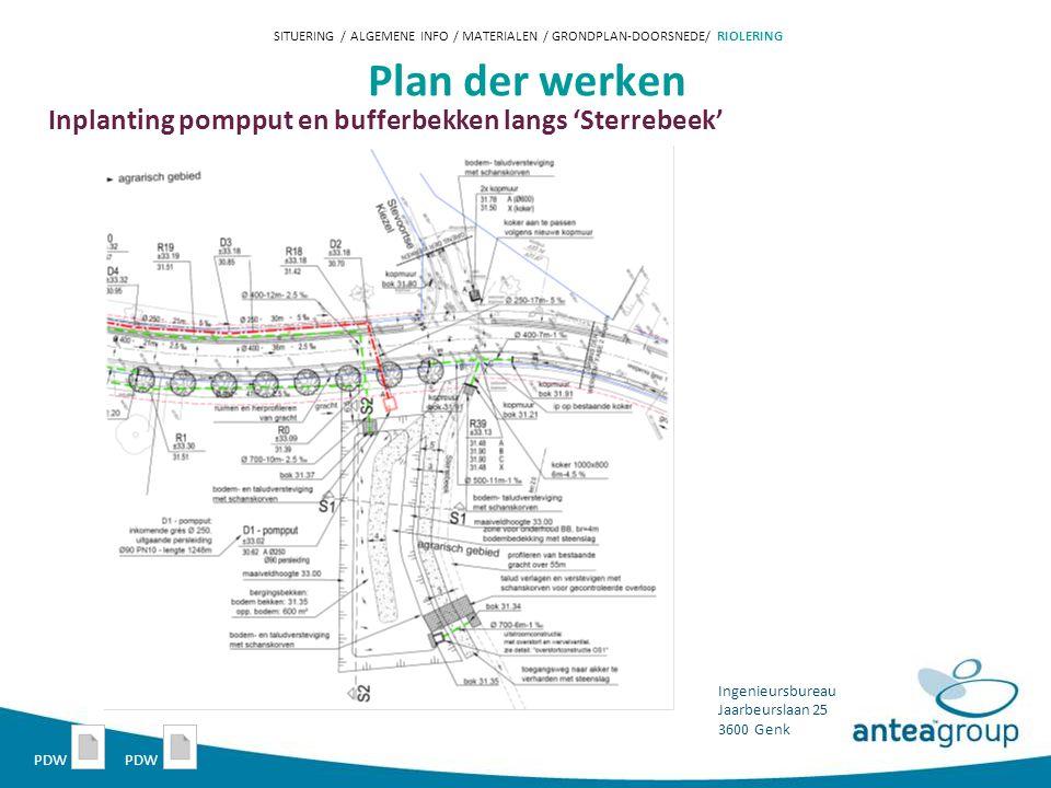 Ingenieursbureau Jaarbeurslaan 25 3600 Genk Plan der werken Inplanting pompput en bufferbekken langs 'Sterrebeek' SITUERING / ALGEMENE INFO / MATERIALEN / GRONDPLAN-DOORSNEDE/ RIOLERING PDW