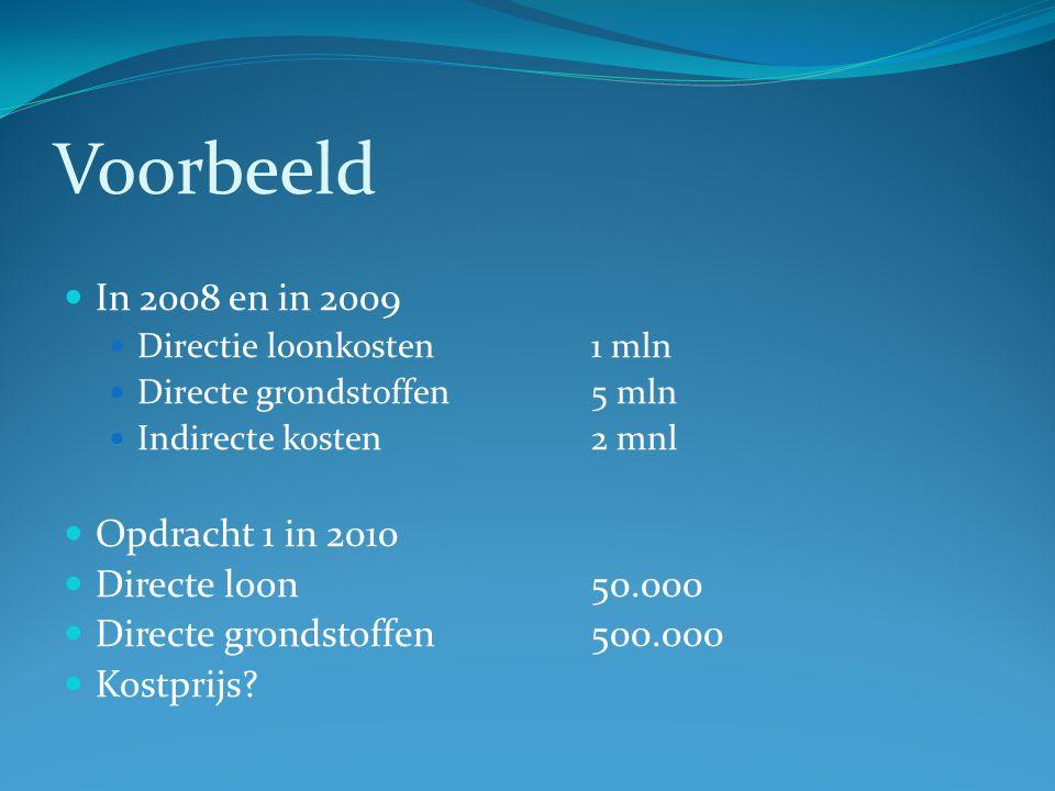 Voorbeeld  In 2008 en in 2009  Directie loonkosten1 mln  Directe grondstoffen5 mln  Indirecte kosten2 mnl  Opdracht 1 in 2010  Directe loon 50.000  Directe grondstoffen500.000  Kostprijs?