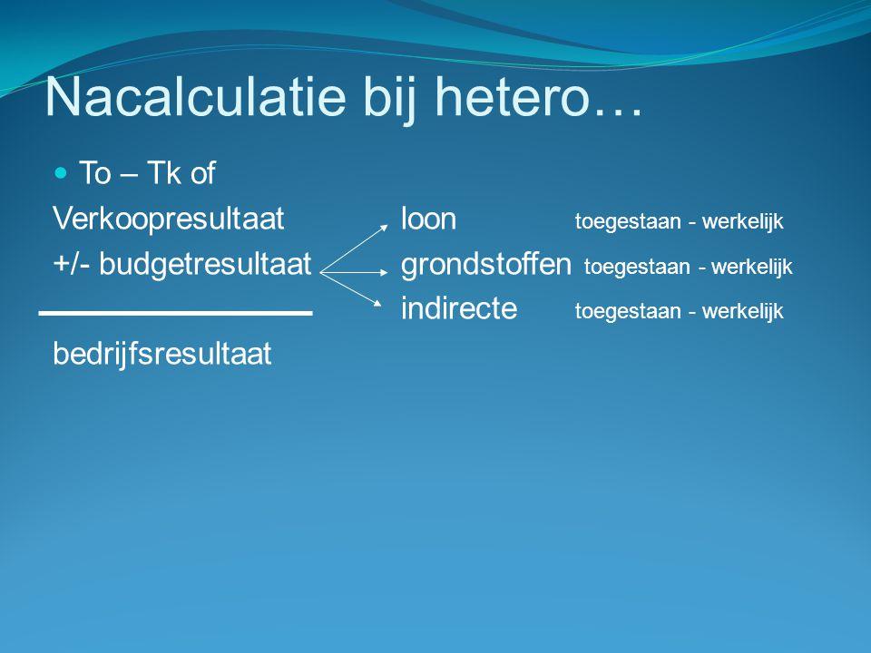 Nacalculatie bij hetero…  To – Tk of Verkoopresultaatloon toegestaan - werkelijk +/- budgetresultaatgrondstoffen toegestaan - werkelijk indirecte toegestaan - werkelijk bedrijfsresultaat