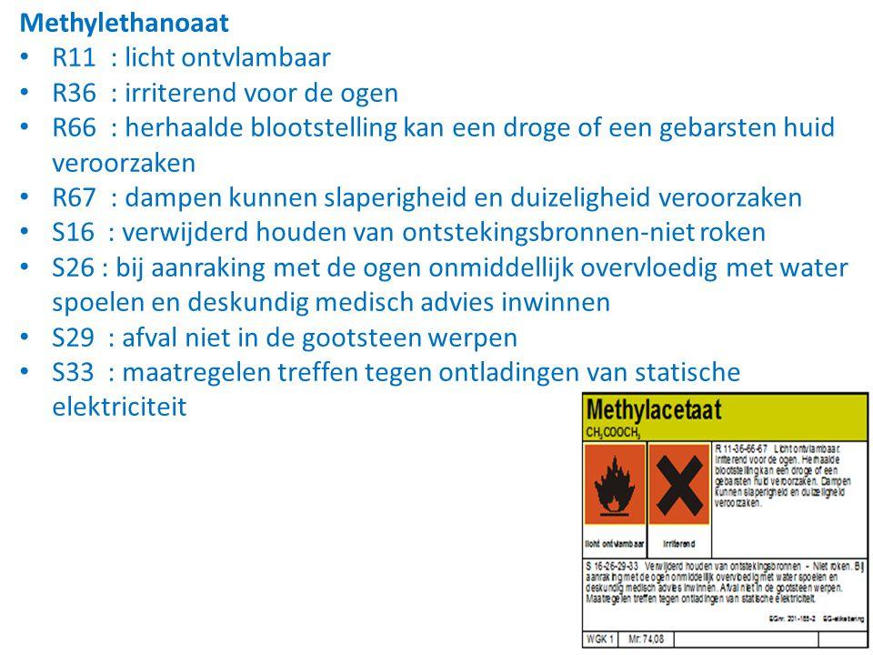 Methylethanoaat • R11 : licht ontvlambaar • R36 : irriterend voor de ogen • R66 : herhaalde blootstelling kan een droge of een gebarsten huid veroorza