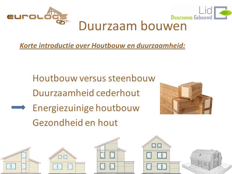 Duurzaam bouwen Houtbouw versus steenbouw Duurzaamheid cederhout Energiezuinige houtbouw Gezondheid en hout Korte introductie over Houtbouw en duurzaamheid:
