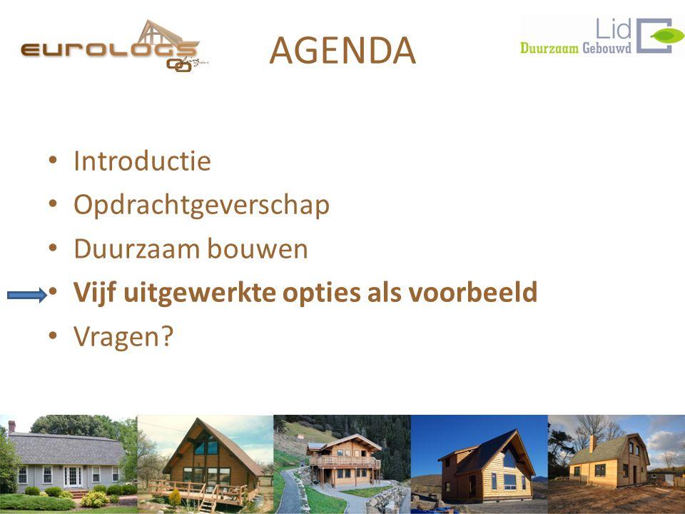 AGENDA • Introductie • Opdrachtgeverschap • Duurzaam bouwen • Vijf uitgewerkte opties als voorbeeld • Vragen?
