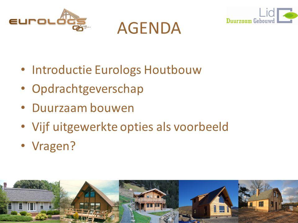 AGENDA • Introductie Eurologs Houtbouw • Opdrachtgeverschap • Duurzaam bouwen • Vijf uitgewerkte opties als voorbeeld • Vragen?