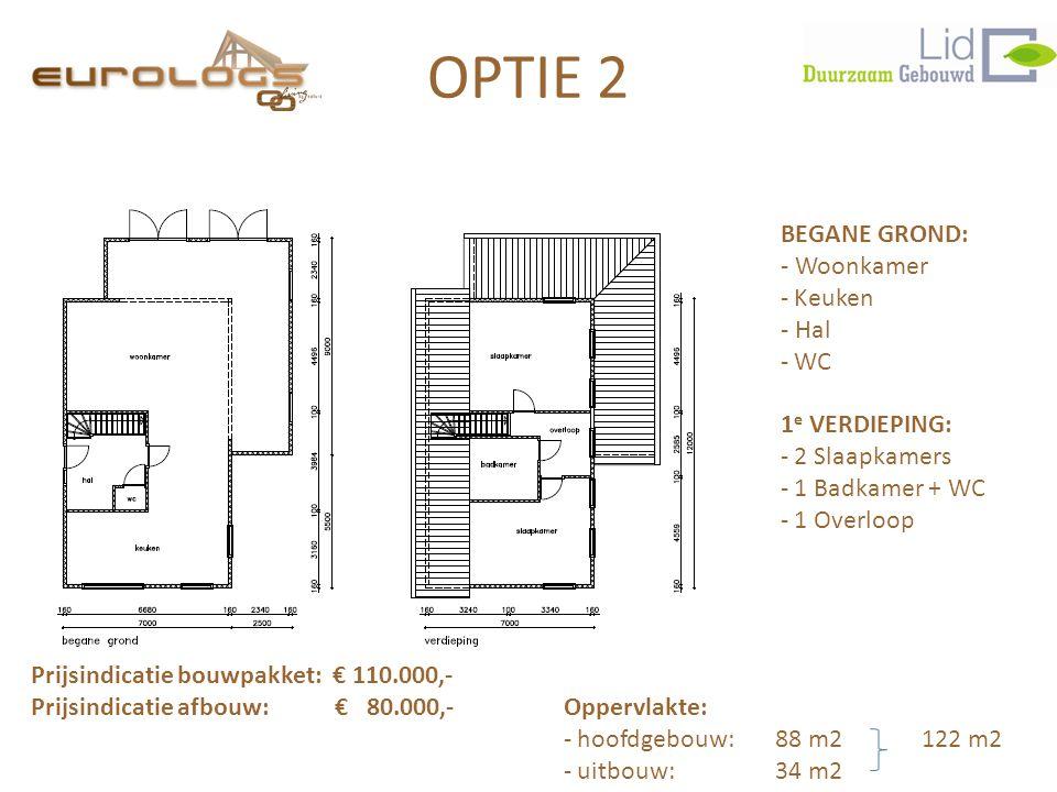 BEGANE GROND: - Woonkamer - Keuken - Hal - WC 1 e VERDIEPING: - 2 Slaapkamers - 1 Badkamer + WC - 1 Overloop Prijsindicatie bouwpakket: € 110.000,- Prijsindicatie afbouw: € 80.000,- Oppervlakte: - hoofdgebouw: 88 m2 122 m2 - uitbouw:34 m2