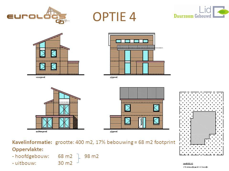 OPTIE 4 Kavelinformatie: grootte: 400 m2, 17% bebouwing = 68 m2 footprint Oppervlakte: - hoofdgebouw: 68 m2 98 m2 - uitbouw:30 m2