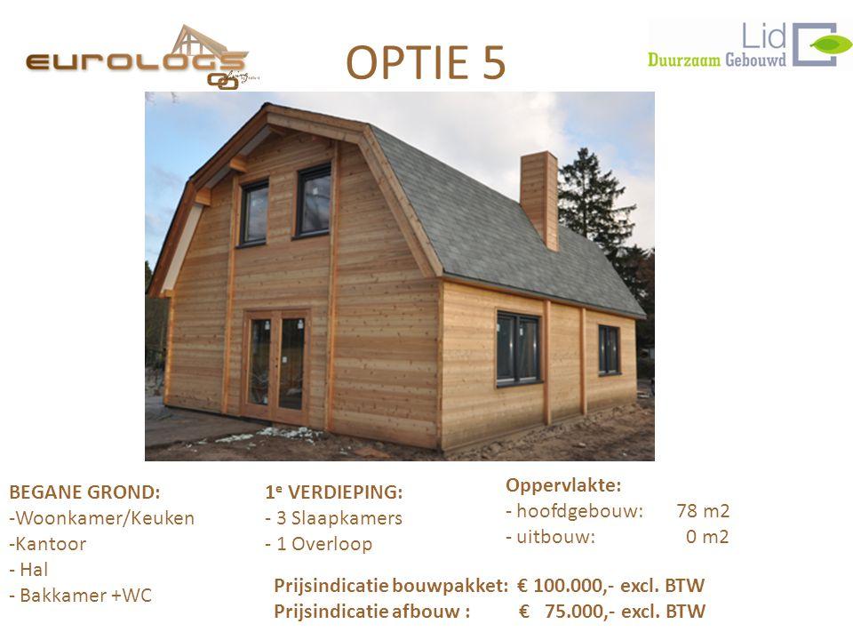 OPTIE 5 BEGANE GROND:1 e VERDIEPING: -Woonkamer/Keuken- 3 Slaapkamers -Kantoor- 1 Overloop - Hal - Bakkamer +WC Prijsindicatie bouwpakket: € 100.000,- excl.