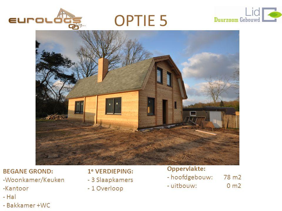 OPTIE 5 BEGANE GROND:1 e VERDIEPING: -Woonkamer/Keuken- 3 Slaapkamers -Kantoor- 1 Overloop - Hal - Bakkamer +WC Oppervlakte: - hoofdgebouw: 78 m2 - uitbouw: 0 m2