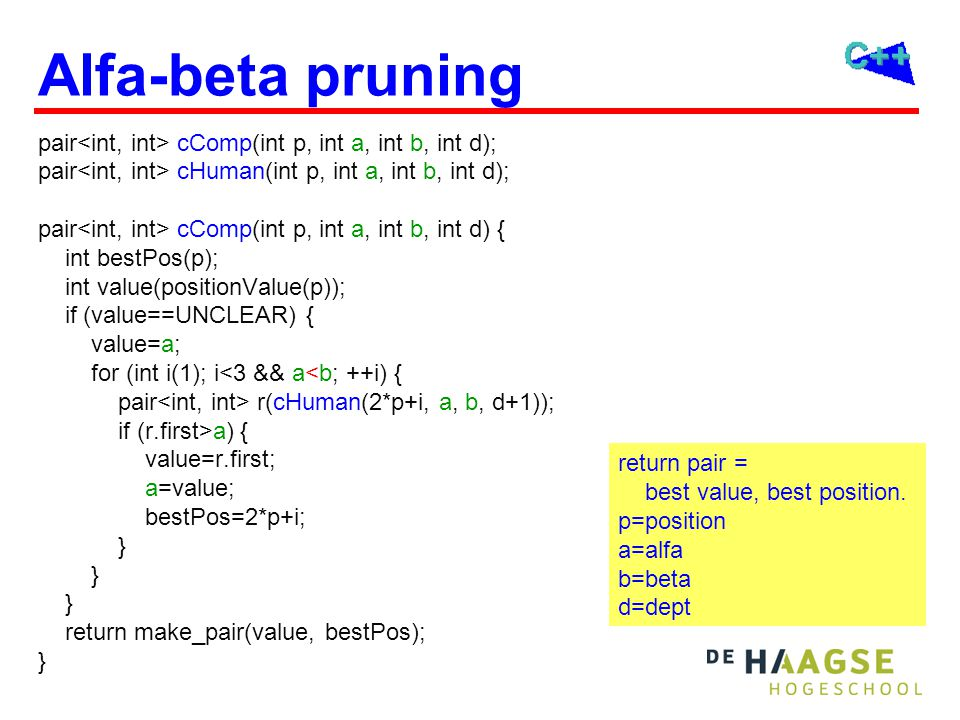 Alfa-beta pruning pair cComp(int p, int a, int b, int d); pair cHuman(int p, int a, int b, int d); pair cComp(int p, int a, int b, int d) { int bestPos(p); int value(positionValue(p)); if (value==UNCLEAR) { value=a; for (int i(1); i<3 && a<b; ++i) { pair r(cHuman(2*p+i, a, b, d+1)); if (r.first>a) { value=r.first; a=value; bestPos=2*p+i; } return make_pair(value, bestPos); } return pair = best value, best position.