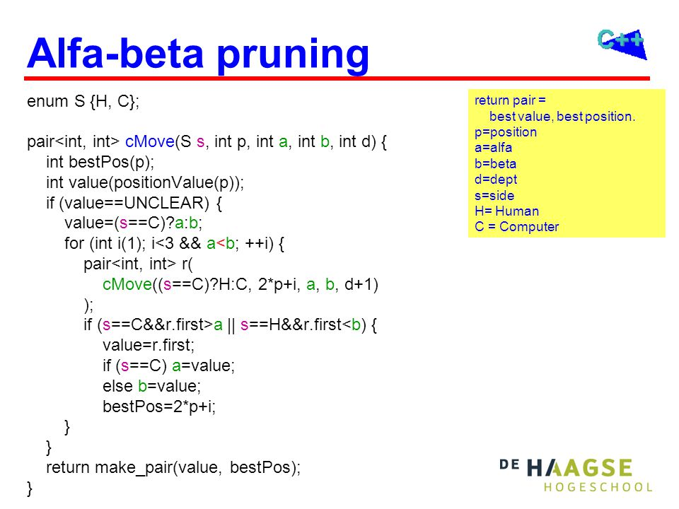 Alfa-beta pruning enum S {H, C}; pair cMove(S s, int p, int a, int b, int d) { int bestPos(p); int value(positionValue(p)); if (value==UNCLEAR) { value=(s==C)?a:b; for (int i(1); i<3 && a<b; ++i) { pair r( cMove((s==C)?H:C, 2*p+i, a, b, d+1) ); if (s==C&&r.first>a || s==H&&r.first<b) { value=r.first; if (s==C) a=value; else b=value; bestPos=2*p+i; } return make_pair(value, bestPos); } return pair = best value, best position.