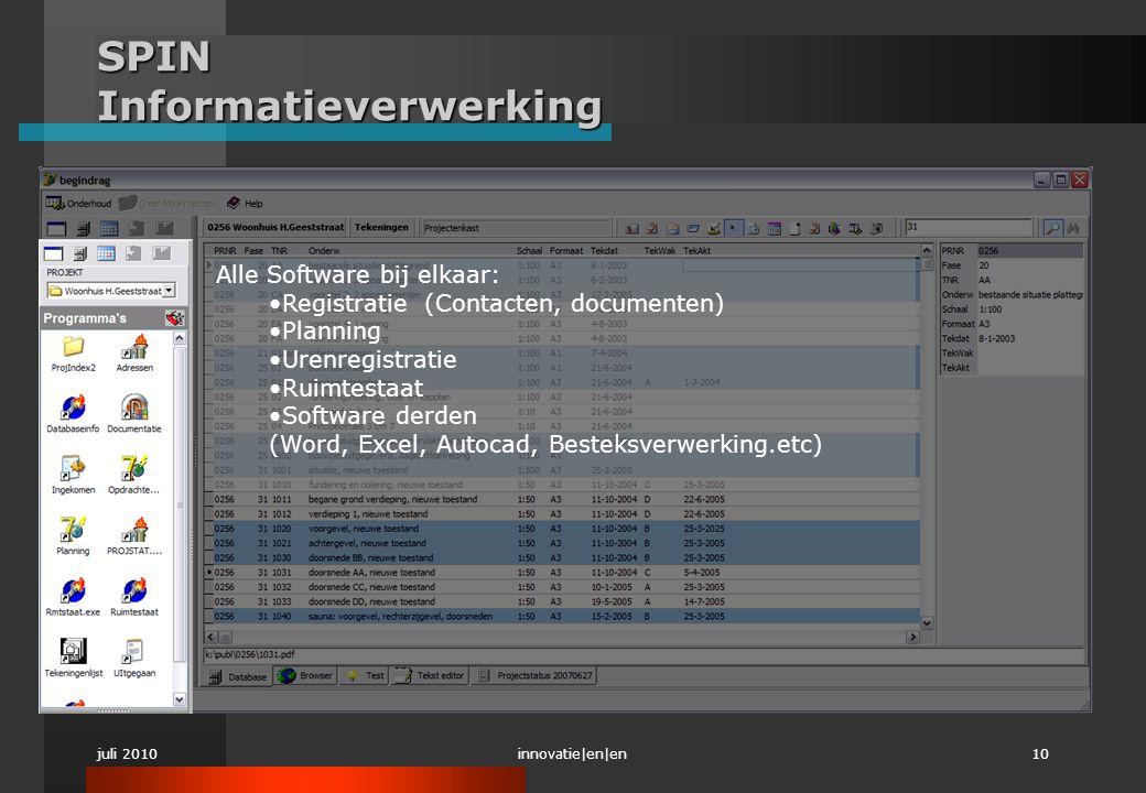 juli 2010innovatie|en|en10 SPIN Informatieverwerking Alle Software bij elkaar: •Registratie (Contacten, documenten) •Planning •Urenregistratie •Ruimte