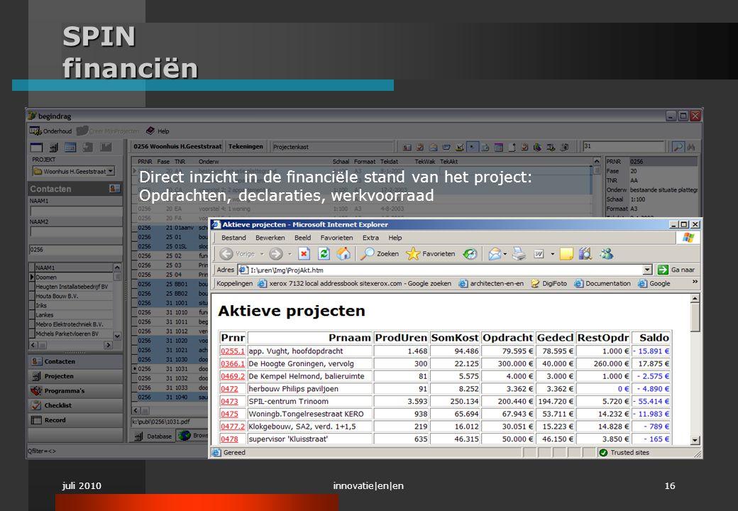 juli 2010innovatie|en|en16 SPIN financiën Direct inzicht in de financiële stand van het project: Opdrachten, declaraties, werkvoorraad