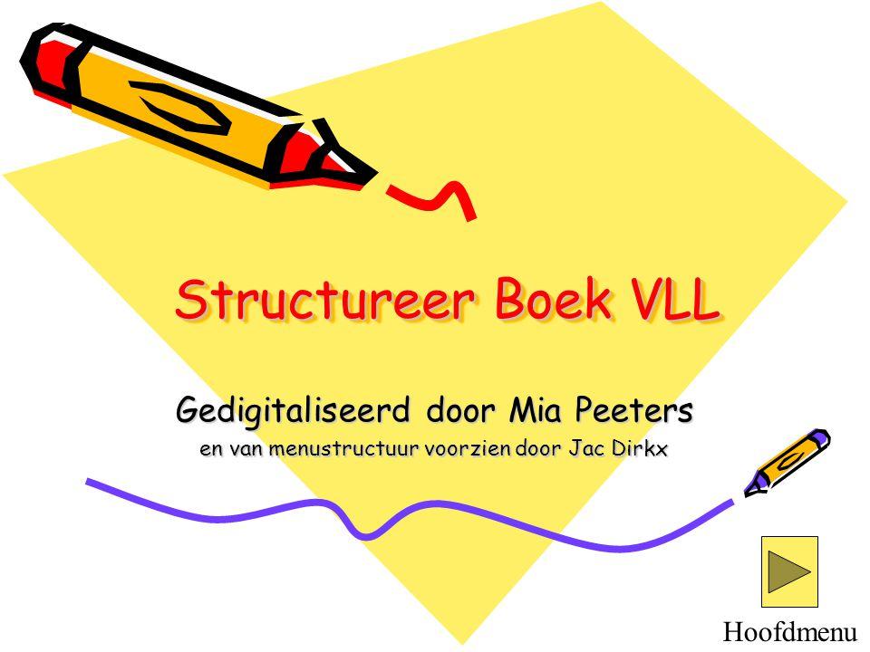 Structureer Boek VLL Gedigitaliseerd door Mia Peeters en van menustructuur voorzien door Jac Dirkx Hoofdmenu