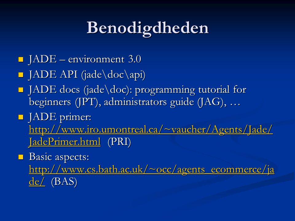 Verwijzingen  API: jade\doc\api  JPT: JADE Programming Tutorial for Beginners  JAG: JADE Administrator's Guide  JPG: JADE Programmer's Guide  CL&O: JADE Application-defined Content Languages and Ontologies Tutorial  PRI: JADE primer  BAS: Basic aspects (Bath)