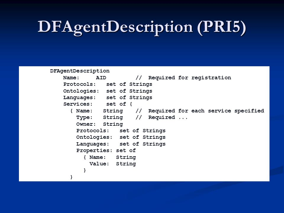DFAgentDescription (PRI5) DFAgentDescription Name: AID// Required for registration Protocols: set of Strings Ontologies: set of Strings Languages: set