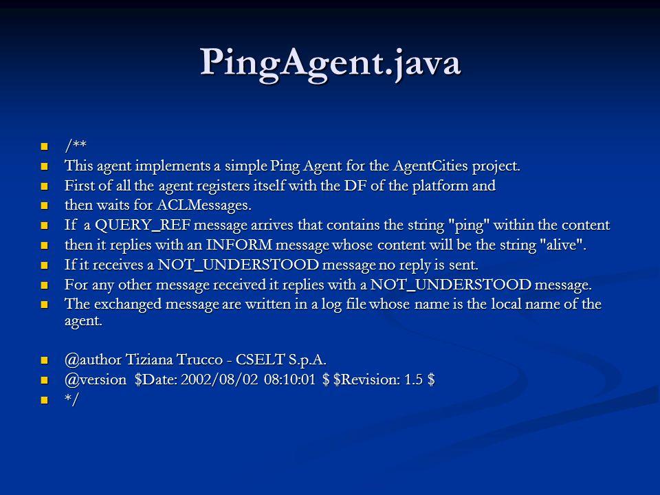 Running JADE (JAG2.3/JPT3.2)  Agentenplatform starten met RMA  java jade.Boot -gui  Agentenplatform + RMA starten met PingAgent (nickname fonske) in main container  java jade.Boot –gui fonske:PingAgent  Een nieuwe container inpluggen  java jade.Boot –container –host dezePC marcel:PingAgent