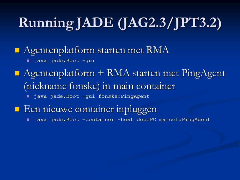 DF Registratie (PRI5) DFAgentDescription dfd = new DFAgentDescription(); dfd.setName( getAID() ); ServiceDescription sd = new ServiceDescription(); sd.setType( buyer ); sd.setName( getLocalName() ); dfd.addServices(sd); try { DFService.register(this, dfd ); } catch (FIPAException fe) { fe.printStackTrace(); }  Registratie doorgaans in setup()  Probeer dit eens te sniffen.