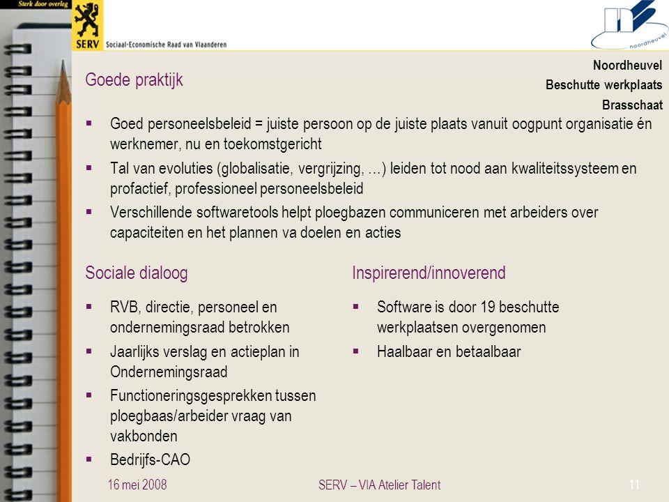 Sociale dialoogInspirerend/innoverend Goede praktijk Noordheuvel Beschutte werkplaats Brasschaat  Goed personeelsbeleid = juiste persoon op de juiste
