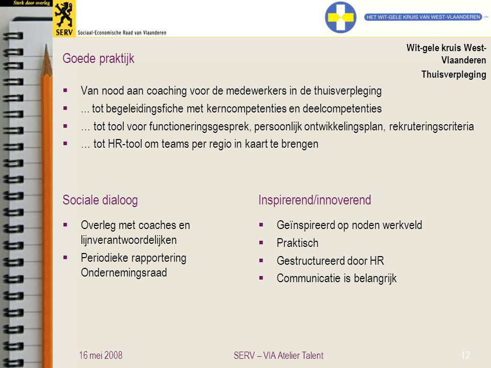 Sociale dialoogInspirerend/innoverend Goede praktijk Wit-gele kruis West- Vlaanderen Thuisverpleging  Van nood aan coaching voor de medewerkers in de