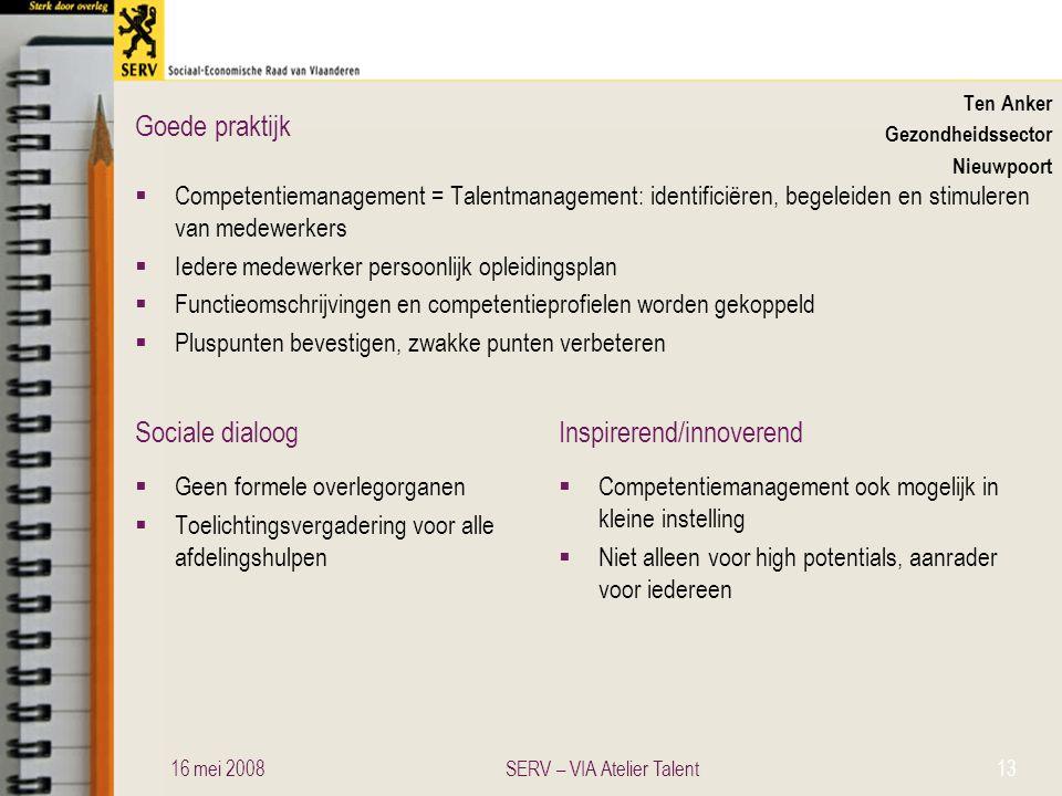 Sociale dialoogInspirerend/innoverend Goede praktijk Ten Anker Gezondheidssector Nieuwpoort  Competentiemanagement = Talentmanagement: identificiëren