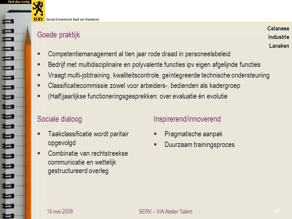 Sociale dialoogInspirerend/innoverend Goede praktijk Celanese Industrie Lanaken  Competentiemanagement al tien jaar rode draad in personeelsbeleid 