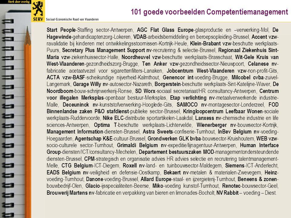 Sociale dialoogInspirerend/innoverend Goede praktijk CTG Belgium ICT Diegem  Ontwikkeling en documentering van een bedrijfseigen Competence Management Systeem (carrièreplanner: welke compenties zijn nodig, hoe kan je ze ontwikkelen)  Persoonlijke begeleiding van een Competence Developer (lijnmanager) voor elke medewerker, samen stellen ze een POP op met gebruik van de carrièreplanner  Persoonlijke begeleiding ook in functie van een retentiebeleid; methodiek wordt reeds 10 jaar gebruikt en bewijst zijn nut  Samenstelling werkgroepen van 'job performers' om relevante competenties voor elke functie te bepalen  Resultaten worden voorgesteld en desgewenst bediscussieerd op de Ondernemingsraad  Werkgroepen voor opmaak van competentiewoordenboek en toewijzing competenties aan functies en/of rollen  Betrokkenen van bij begin betrekken, vraagt tijd en energie maar return on investment bij implementatie en latere wijziging is groter 16 mei 200843SERV – VIA Atelier Talent