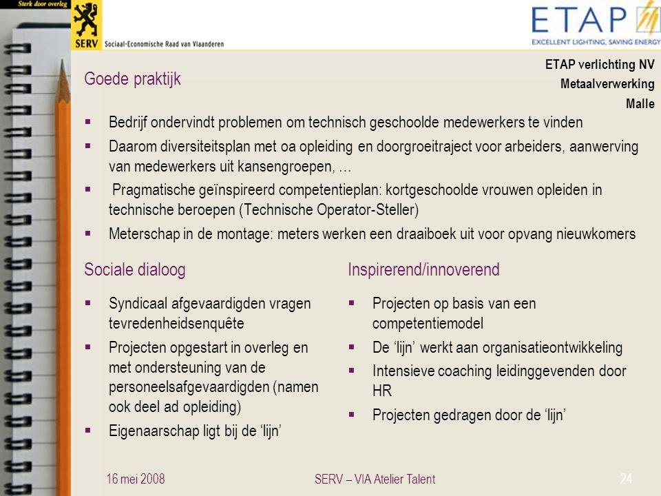 Sociale dialoogInspirerend/innoverend Goede praktijk ETAP verlichting NV Metaalverwerking Malle  Bedrijf ondervindt problemen om technisch geschoolde
