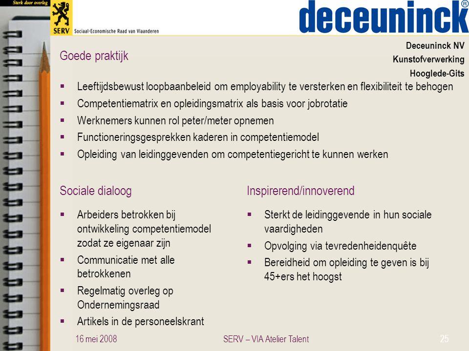 Sociale dialoogInspirerend/innoverend Goede praktijk Deceuninck NV Kunstofverwerking Hooglede-Gits  Leeftijdsbewust loopbaanbeleid om employability t