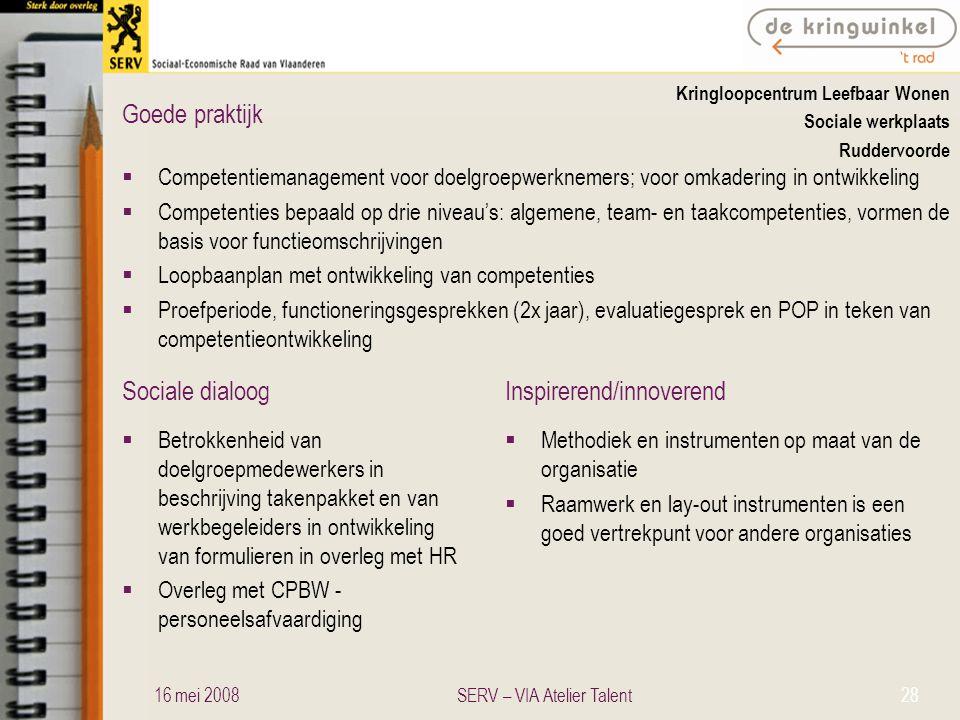 Sociale dialoogInspirerend/innoverend Goede praktijk Kringloopcentrum Leefbaar Wonen Sociale werkplaats Ruddervoorde  Competentiemanagement voor doel