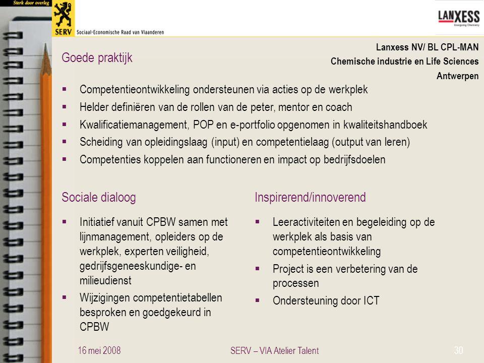 Sociale dialoogInspirerend/innoverend Goede praktijk Lanxess NV/ BL CPL-MAN Chemische industrie en Life Sciences Antwerpen  Competentieontwikkeling o