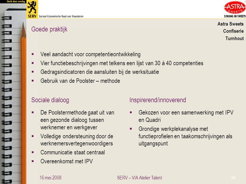 Sociale dialoogInspirerend/innoverend Goede praktijk Astra Sweets Confiserie Turnhout  Veel aandacht voor competentieontwikkeling  Vier functiebesch