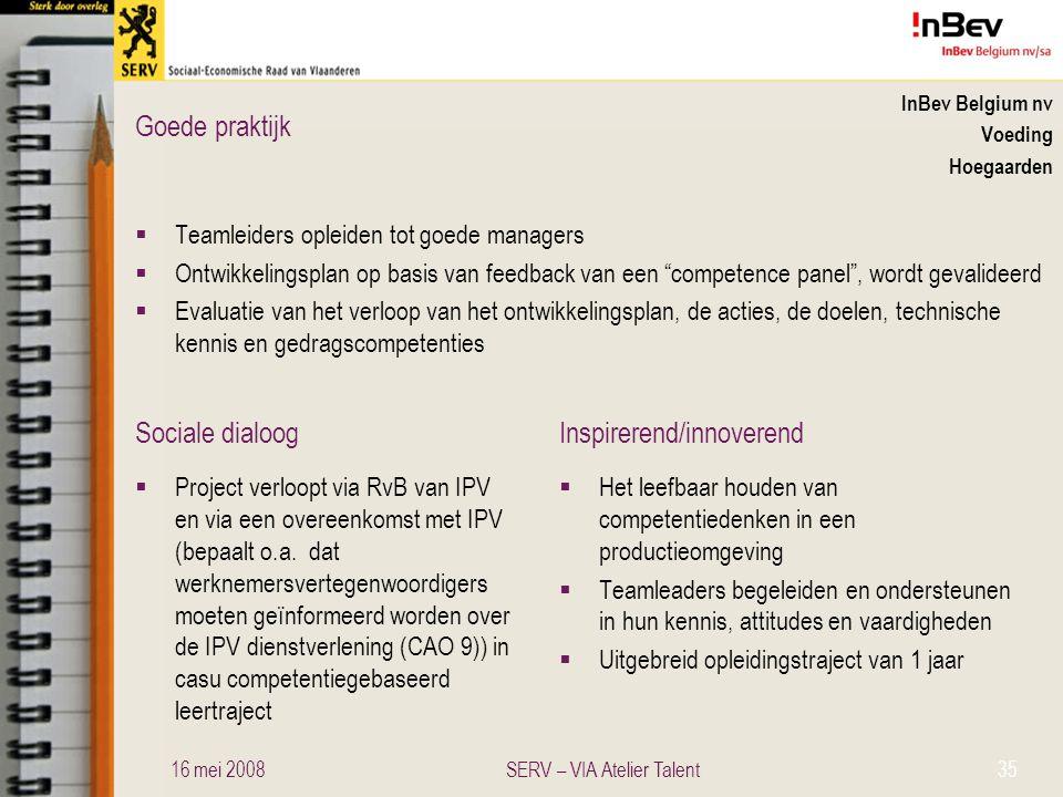 Sociale dialoogInspirerend/innoverend Goede praktijk InBev Belgium nv Voeding Hoegaarden  Teamleiders opleiden tot goede managers  Ontwikkelingsplan