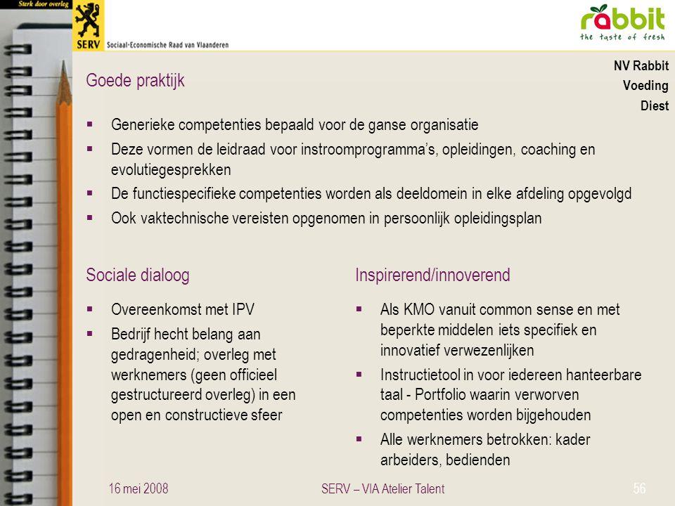 Sociale dialoogInspirerend/innoverend Goede praktijk NV Rabbit Voeding Diest  Generieke competenties bepaald voor de ganse organisatie  Deze vormen