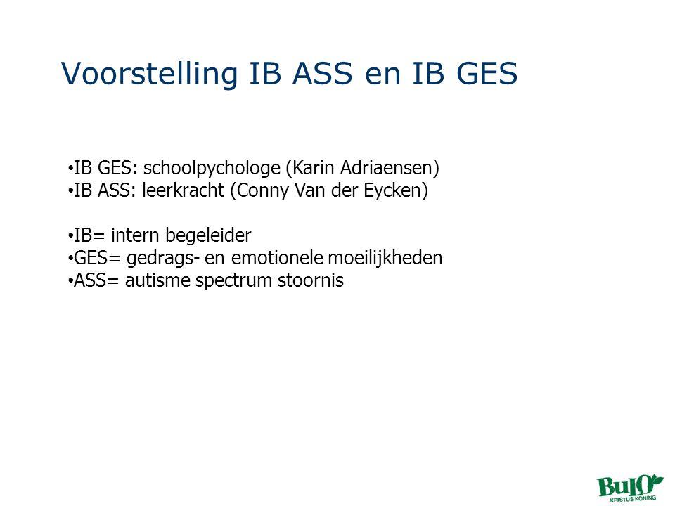 Voorstelling IB ASS en IB GES • IB GES: schoolpychologe (Karin Adriaensen) • IB ASS: leerkracht (Conny Van der Eycken) • IB= intern begeleider • GES=