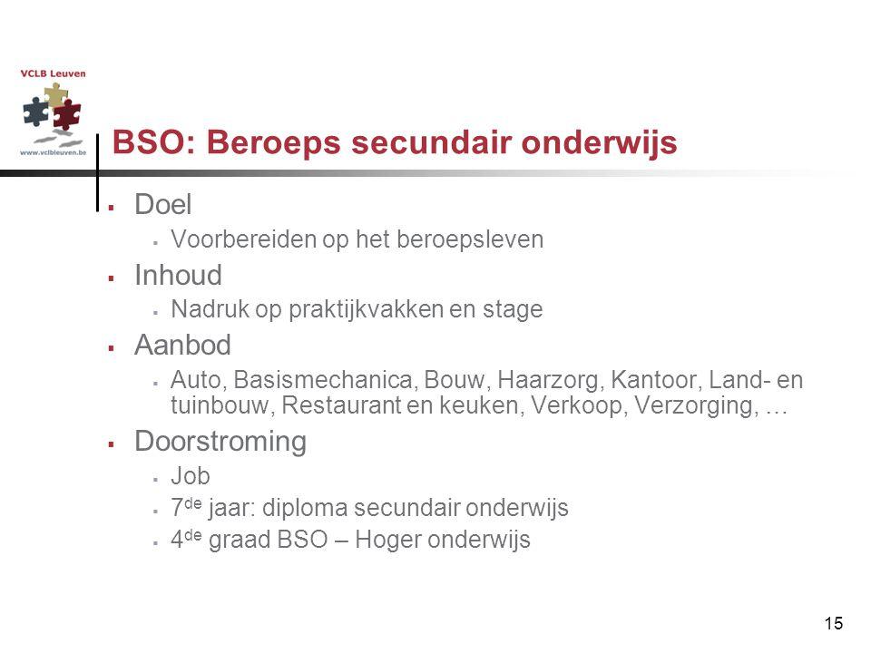 15 BSO: Beroeps secundair onderwijs  Doel  Voorbereiden op het beroepsleven  Inhoud  Nadruk op praktijkvakken en stage  Aanbod  Auto, Basismecha